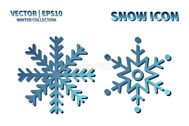 Snowflake vector icon set. Christmas and winter snow flake element collection. Isolated flat new year holiday decoration illustrat royalty free stock images