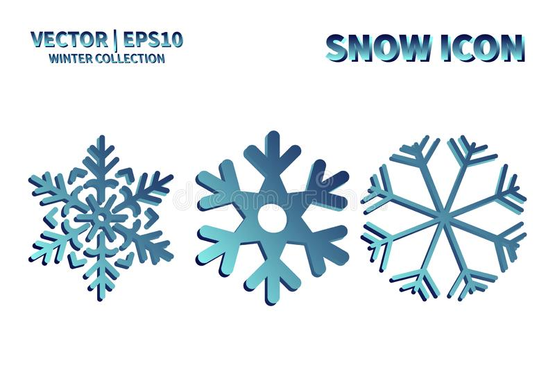 Snowflake vector icon set. Christmas and winter snow flake element collection. Isolated flat new year holiday decoration illustrat stock photo