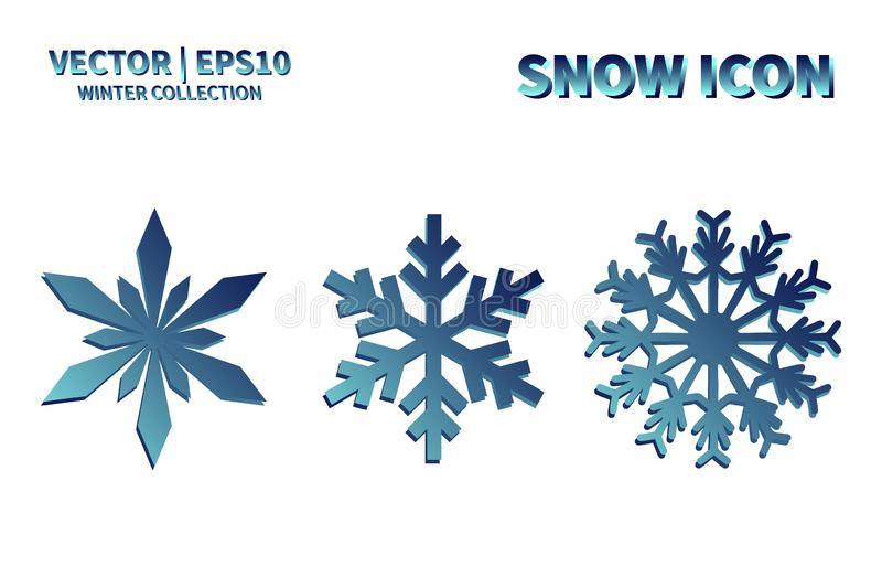 Snowflake vector icon set. Christmas and winter snow flake element collection. Isolated flat new year holiday decoration illustrat stock image