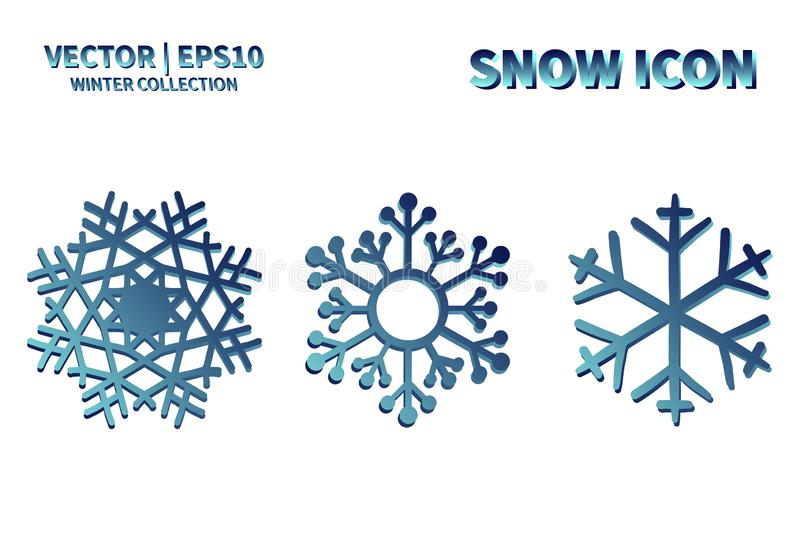 Snowflake vector icon set. Christmas and winter snow flake element collection. Isolated flat new year holiday decoration illustrat royalty free stock photo
