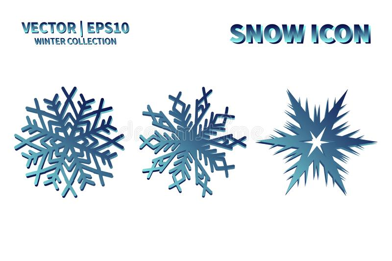 Snowflake vector icon set. Christmas and winter snow flake element collection. Isolated flat new year holiday decoration illustrat stock photography