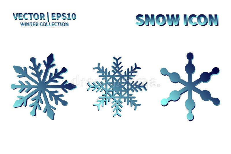 Snowflake vector icon set. Christmas and winter snow flake element collection. Isolated flat new year holiday decoration illustrat royalty free stock photos
