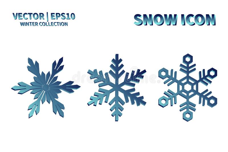 Snowflake vector icon set. Christmas and winter snow flake element collection. Isolated flat new year holiday decoration illustrat stock images