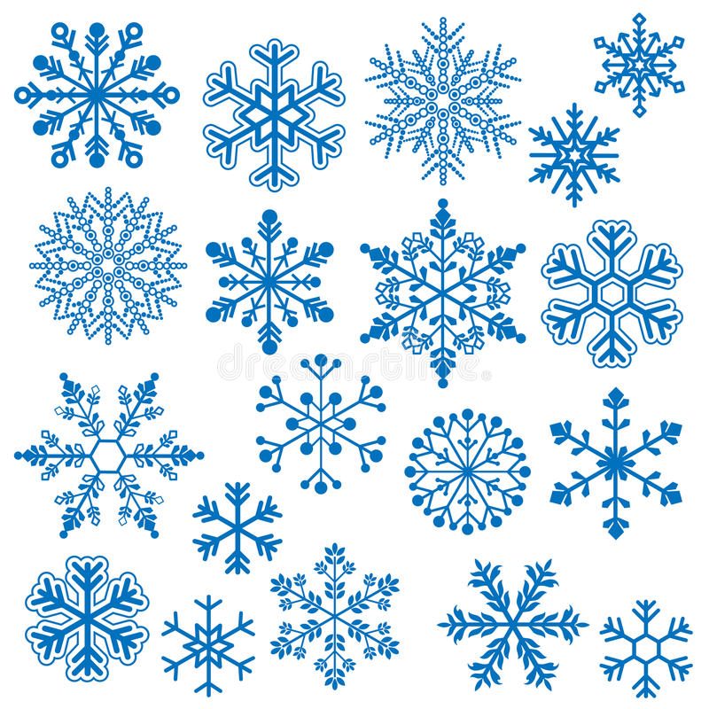 Snowflake Vectors. Detailed Blue Snowflake Vector Collection vector illustration