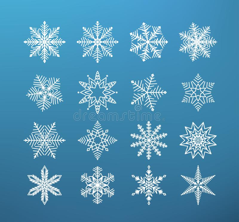 Snowflake winter . Set of flake of snow on dark blue background royalty free illustration