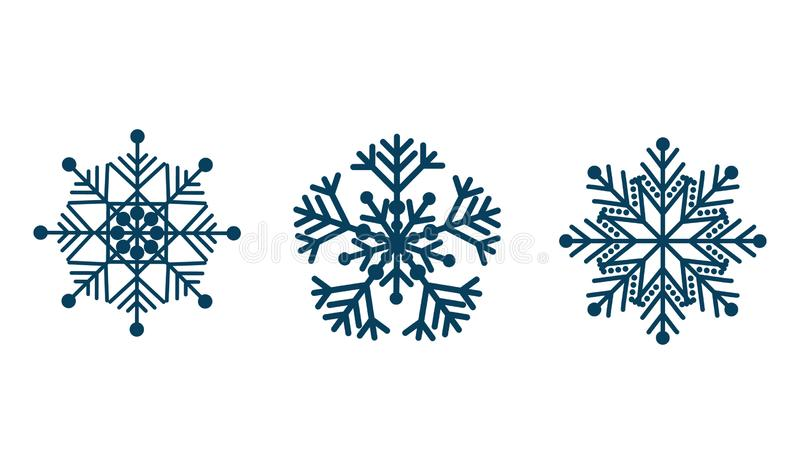 Snowflake winter set. New year snow blue elements on isolated white background royalty free stock images