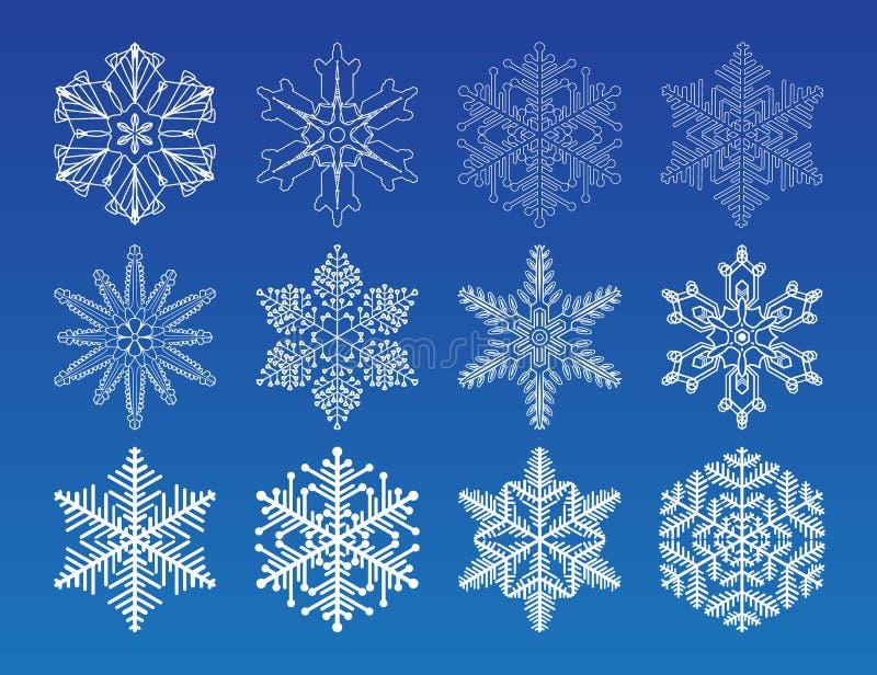 Snowflake winter set vector illustration. Decorative vector Snowflakes set - winter series clip-art royalty free illustration