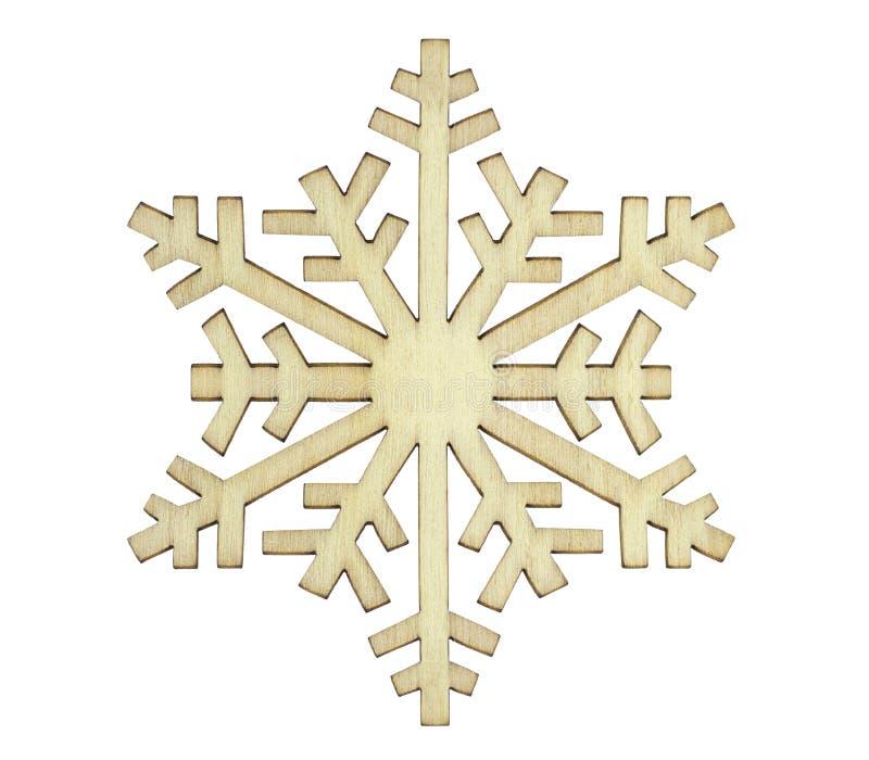 Snowflake. Wood snowflake, close up image, on white background royalty free stock image