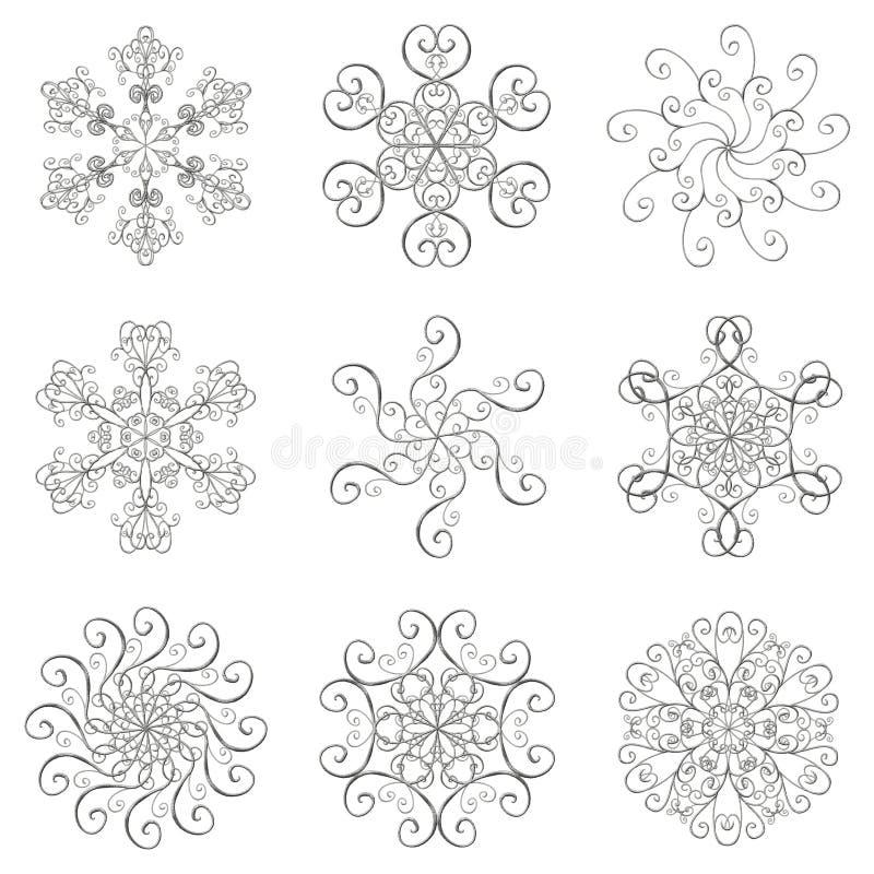 Snowflakes ασημένια καθορισμένη συλλογή επίδρασης εικονιδίων τρισδιάστατη που απομονώνεται στο άσπρο υπόβαθρο απεικόνιση αποθεμάτων