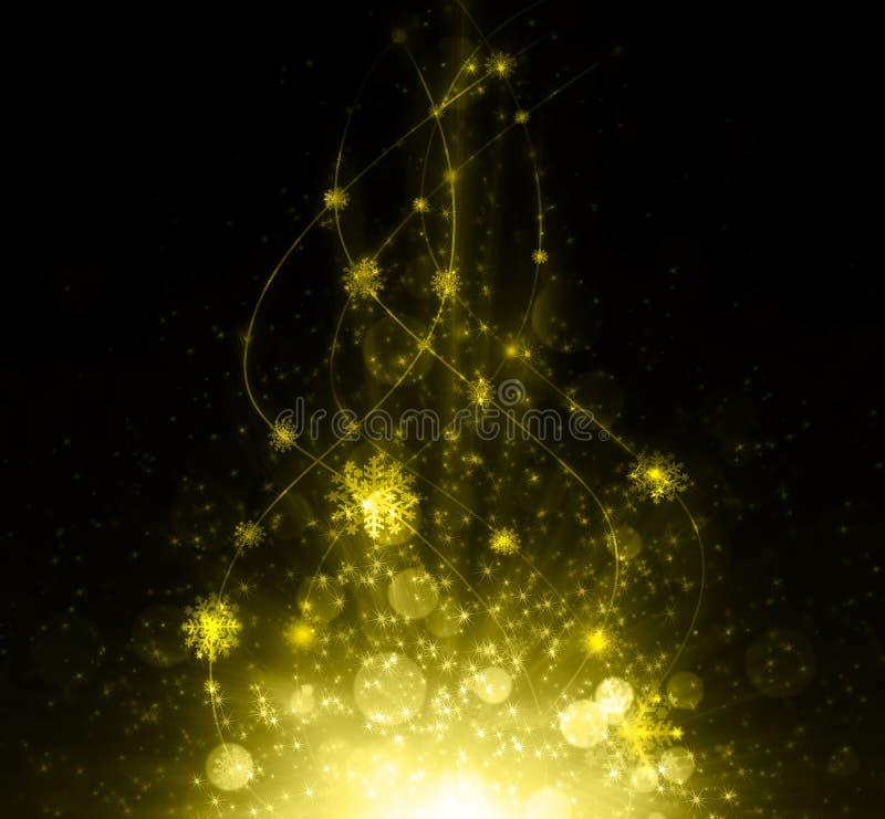 Snowflakes και αστεριών να λάμψει που κατεβαίνει σε χρυσό απεικόνιση αποθεμάτων