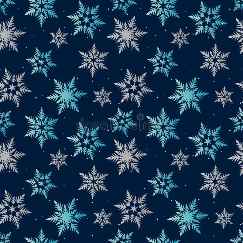 Snowflakes κρητιδογραφιών μπλε γκρίζος χειμώνας στο σκούρο μπλε σχέδιο ουρανού νύχτας άνευ ραφής ελεύθερη απεικόνιση δικαιώματος