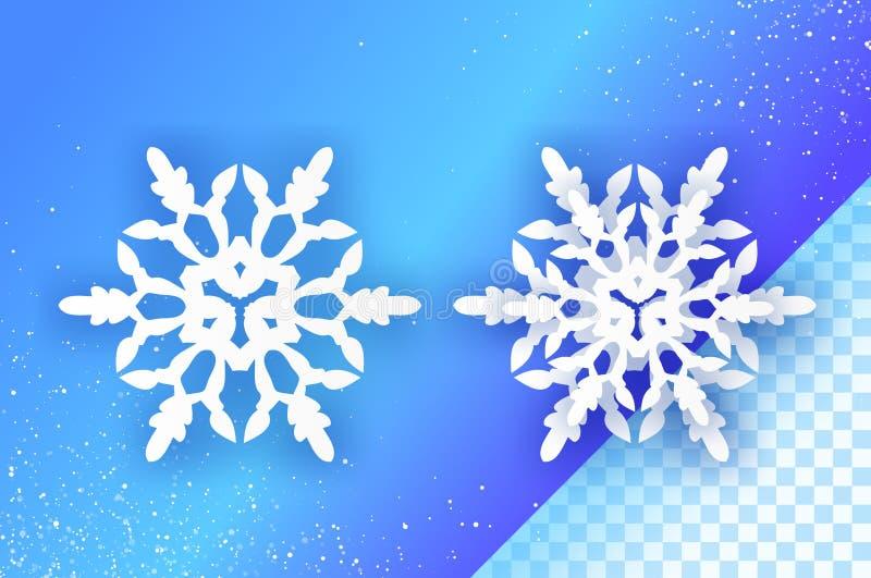 2 snowflakes περικοπών της Λευκής Βίβλου Δύο Origami υπόβαθρο χειμερινών διακοσμήσεων εποχιακές διακοπές χιονοπτώσεις βακκινίων ε ελεύθερη απεικόνιση δικαιώματος