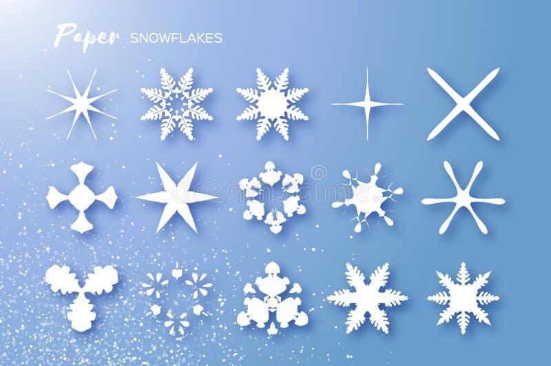 15 snowflakes περικοπών της Λευκής Βίβλου Στοιχεία χειμερινών διακοσμήσεων Origami εποχιακές διακοπές χιονοπτώσεις Χαρούμενα Χρισ απεικόνιση αποθεμάτων