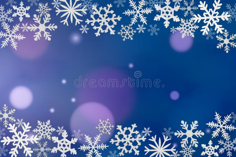 Snowflakes πλαίσιο στο μπλε υπόβαθρο ελεύθερη απεικόνιση δικαιώματος