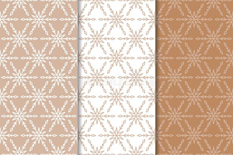 Snowflakes πρότυπα άνευ ραφής Σύνολο μπεζ χειμερινών διακοσμήσεων απεικόνιση αποθεμάτων