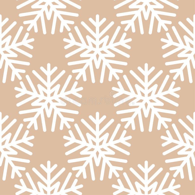 Snowflakes πρότυπο άνευ ραφής Καφετιά μπεζ χειμερινή διακόσμηση ελεύθερη απεικόνιση δικαιώματος