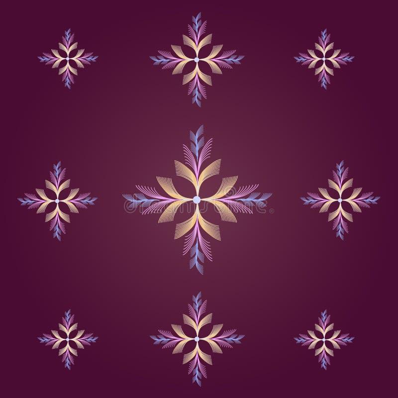 Snowflakes σχέδιο σε ένα vinous υπόβαθρο διανυσματική απεικόνιση