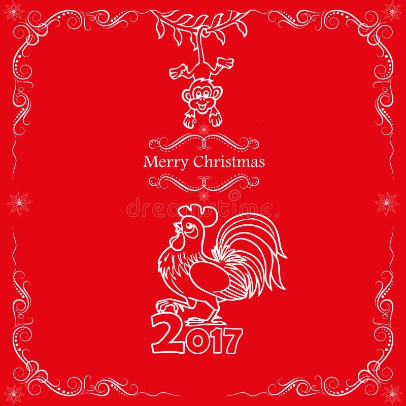 snowflakes σχεδίου Χριστουγέννων καρτών teddy παιχνίδι 2017 κινεζικό νέο έτος του κόκκορα απεικόνιση αποθεμάτων