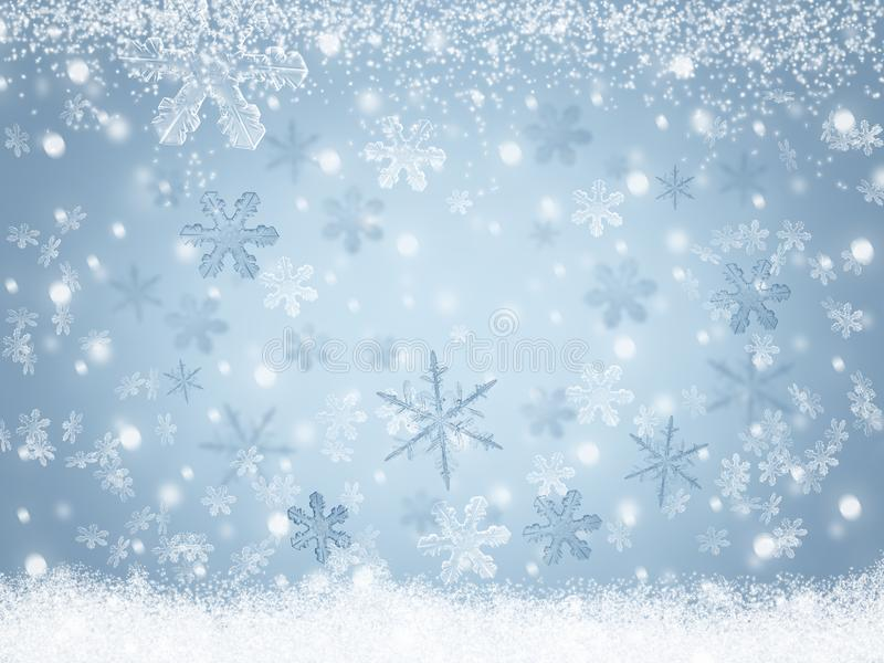 Snowflakes υποβάθρου χειμερινών τοπίων Χριστουγέννων που αφορούν το χιόνι ελεύθερη απεικόνιση δικαιώματος