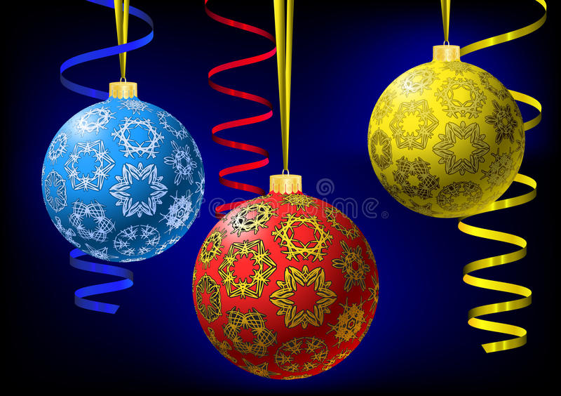 snowflakes Χριστουγέννων σφαιρών σύ& διανυσματική απεικόνιση