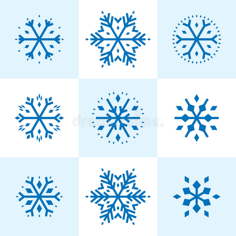 Snowflakes. Nine holiday snowflakes to use individually, in groups or as a background. A retro 50s designed, colorful, unique illustration from award winning vector illustration