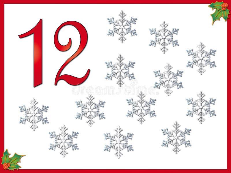 snowflakes 12 ημερών των Χριστουγέννω& διανυσματική απεικόνιση