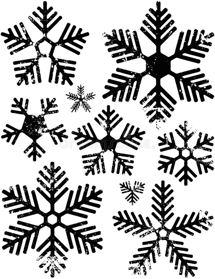 Snowflakes. Black and white distressed snowflakes. Clean version also available stock illustration