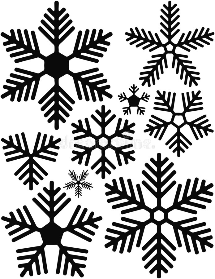 Snowflakes. Black and white symbolic snowflakes. Grunge version also available stock illustration
