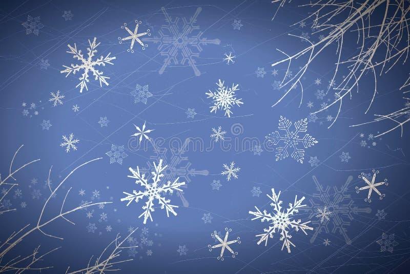 Snowflakes. On blue background royalty free illustration