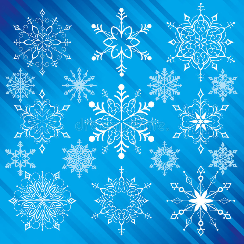 Snowflakes. Traditional Style, editable vector illustration