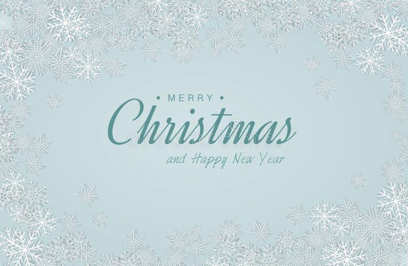 Vector merry christmas card with snowfalkes. - Illustration vector illustration