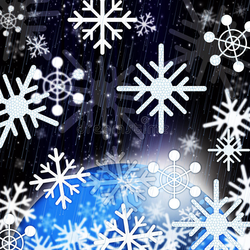Snowflakes Background Shows Snowing From Sky And Cold stock illustration
