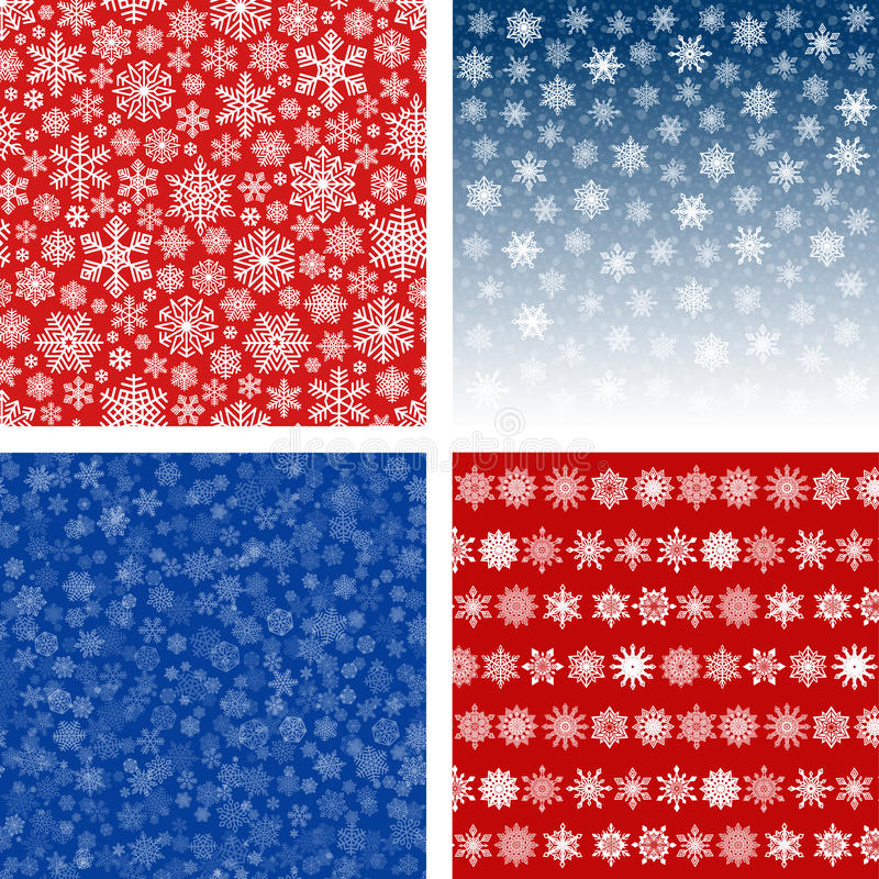 Snowflakes Backgrounds and Patterns Set. Snowflakes Backgrounds and Seamless Patterns Set. Snow falling in blue sky. Intricate white and red decorative prints stock illustration