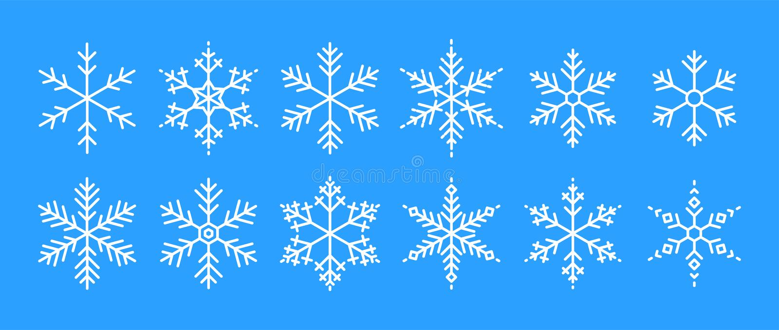 Snowflakes big set icons. Flake crystal silhouette collection. Happy new year, xmas, christmas. Snow, holiday, cold weather, frost stock photo