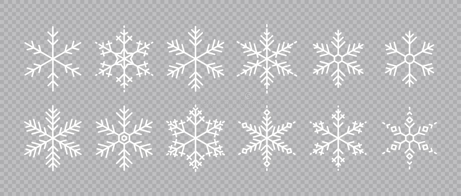 Snowflakes big set icons. Flake crystal silhouette collection. Happy new year, xmas, christmas. Snow, holiday, cold weather, frost royalty free stock photos