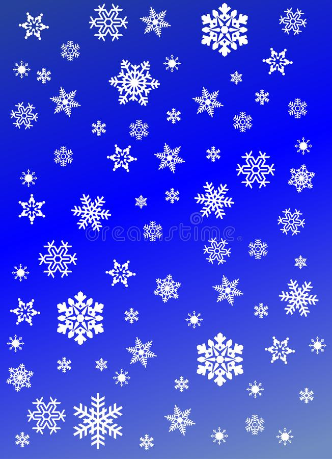 Snowflakes on blue background stock photography