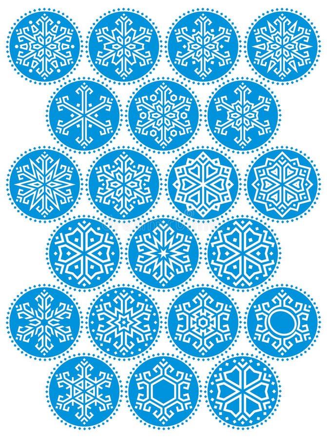 Snowflakes Blue Round Kit royalty free stock image