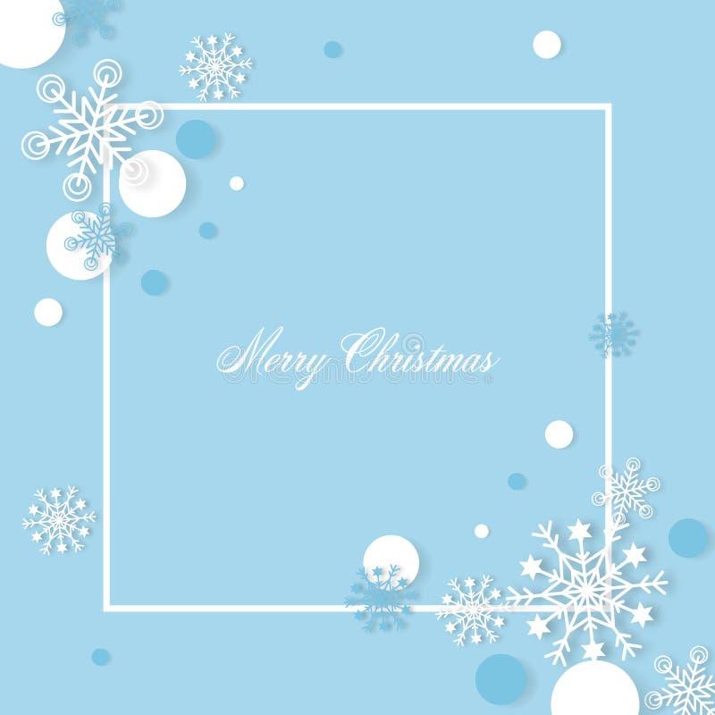 Snowflakes bożonarodzeniowe tło z wycinanym papierem wolnotekstowym - Ilustracja wektorowa ilustracja wektor