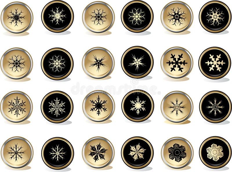 Snowflakes buttons stock illustration