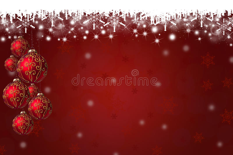 Snowflakes and Christmas Baubles Background vector illustration