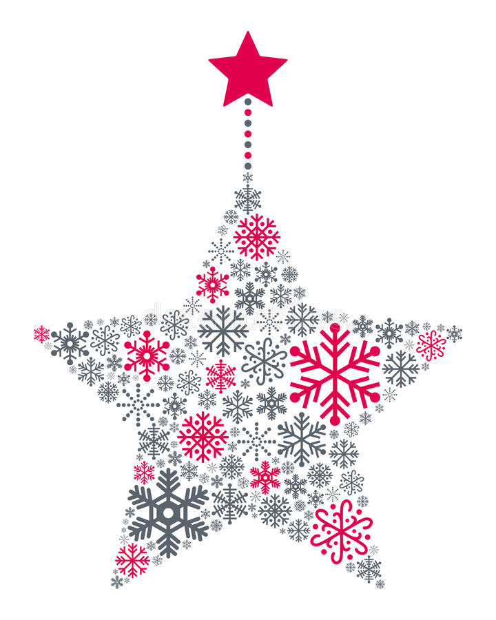 Snowflakes Christmas Star. A Christmas star made up of different snowflakes, isolated on white background. Useful also as greeting card. Eps file available