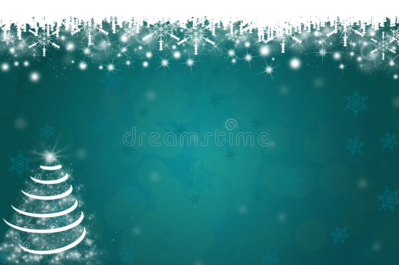 Snowflakes and Christmas Tree Background royalty free stock photos
