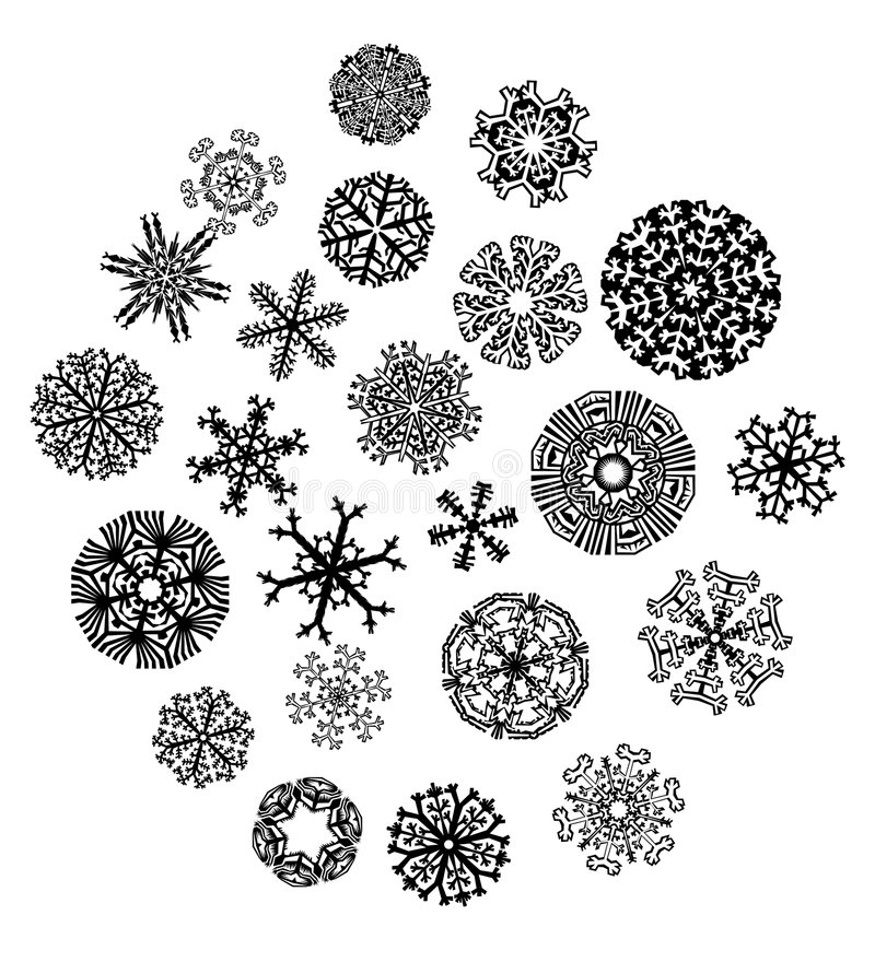 Snowflakes collection. 23 peaces of cristal snowflake compozition royalty free illustration
