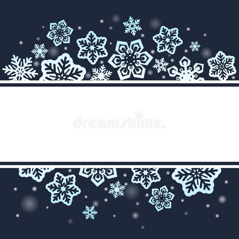 Snowflakes on dark Christmas background. Snowflakes on dark sky background. Vector illustration for banners, cards, invitation stock illustration