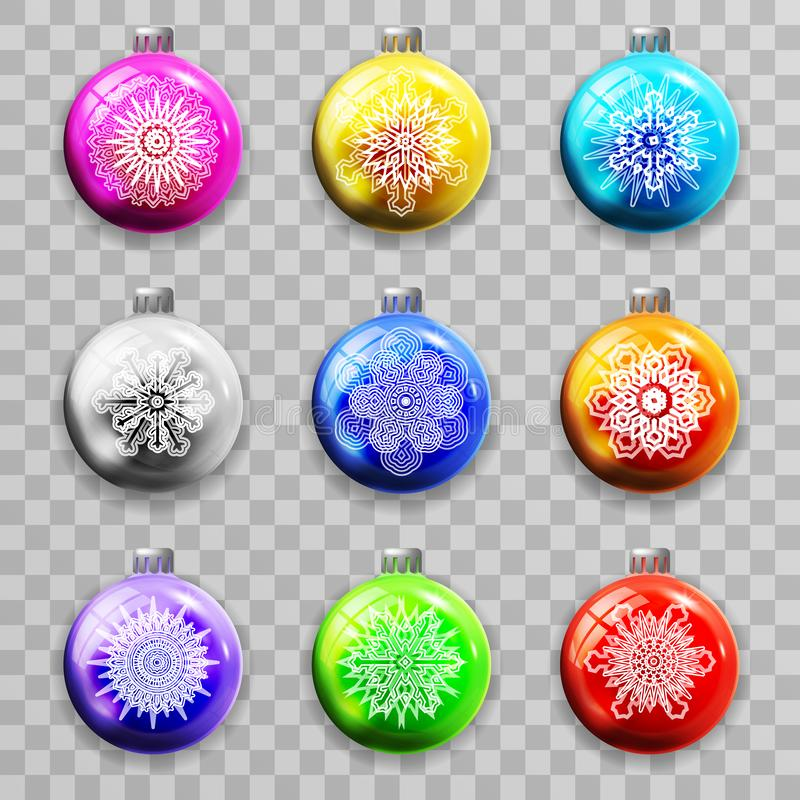Snowflakes decoration christmas tree new year ball 3d realistic colorful transparent background template mockup vector vector illustration