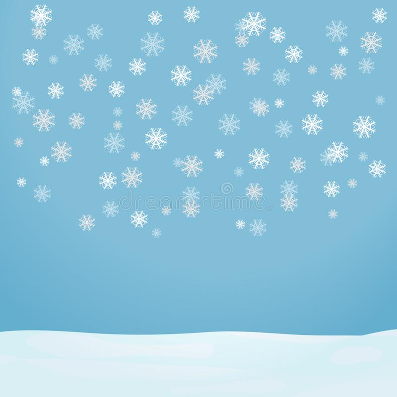 Snowflakes fall on a light blue background. Flying snowflakes fall on the snow. Flat design, illustration stock illustration