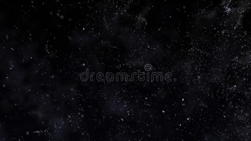 Christmas falling magic snow on a black background. Winter storm illustration with snowflakes. stock photo