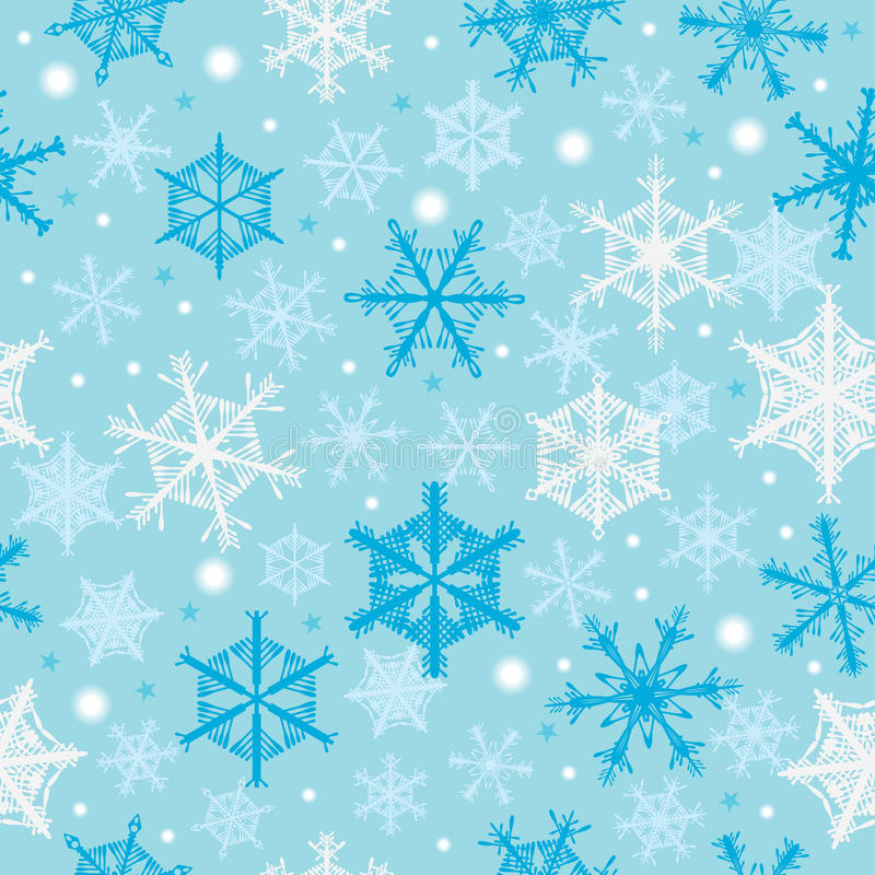 Snowflakes Falling Seamless Pattern_eps royalty free illustration