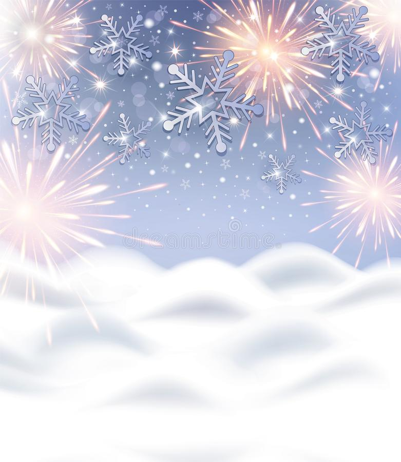 Snowflakes and firework background with snow drift for Happy New Year celebration stock images