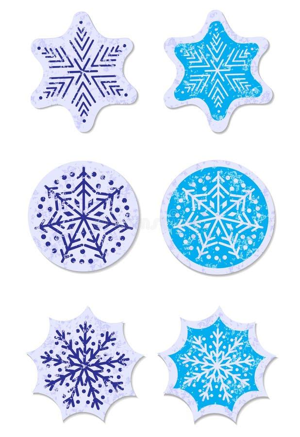Snowflakes Grunge αυτοκόλλητες ετικέττες καθορισμένες απεικόνιση αποθεμάτων
